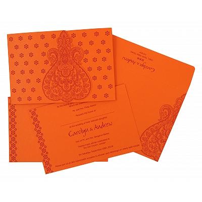 Orange Paisley Themed - Screen Printed Wedding Invitation : CIN-801D