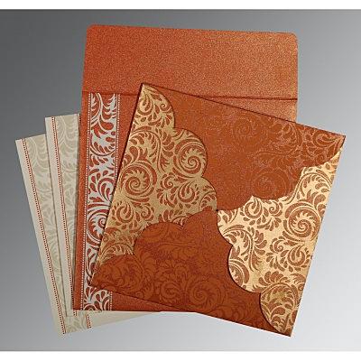 Orange Shimmery Floral Themed - Screen Printed Wedding Card : CIN-8235G