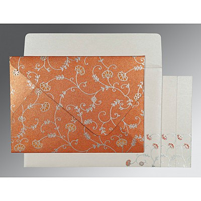 Orange Shimmery Floral Themed - Screen Printed Wedding Invitation : CIN-8248E