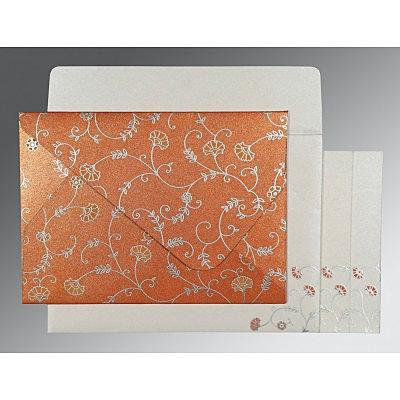 Orange Shimmery Floral Themed - Screen Printed Wedding Invitation : CS-8248E - IndianWeddingCards