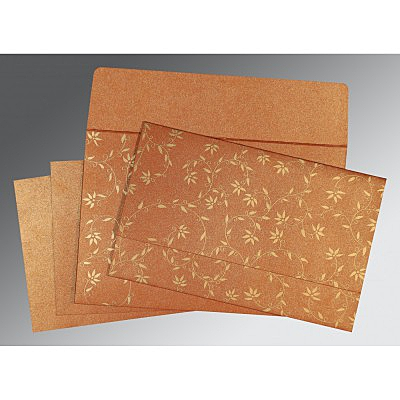 Orange Shimmery Floral Themed - Screen Printed Wedding Invitation : CW-8226E - IndianWeddingCards