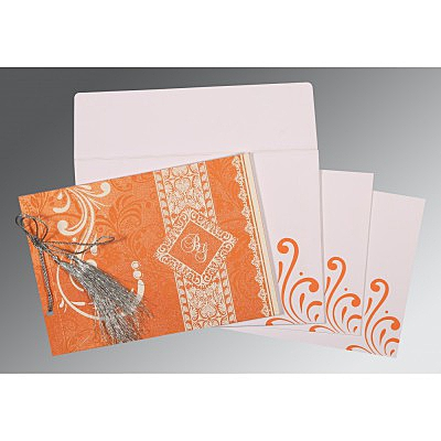 Orange Shimmery Screen Printed Wedding Card : CIN-8223K - IndianWeddingCards