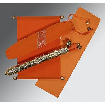 Orange Velvet Wedding Card : CSC-5005G - IndianWeddingCards