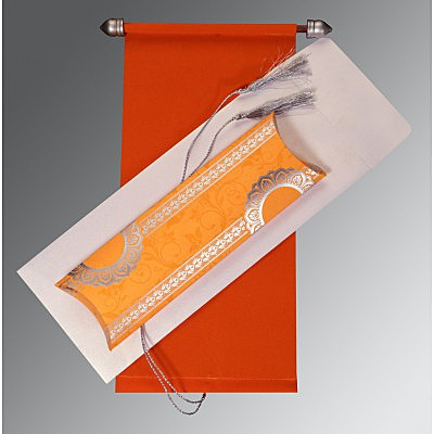 Orange Velvet Wedding Card : CSC-5010K - IndianWeddingCards