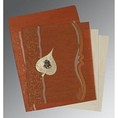 Orange Wooly Embossed Wedding Card : CC-8210D - IndianWeddingCards