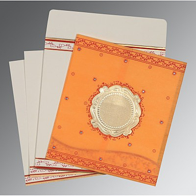 Orange Wooly Embossed Wedding Invitations : CD-8202B - IndianWeddingCards