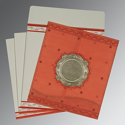 Orange Wooly Embossed Wedding Invitations : CD-8202N - IndianWeddingCards