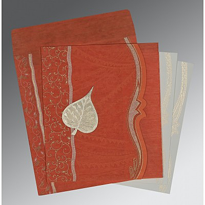 Orange Wooly Embossed Wedding Card : CD-8210D - IndianWeddingCards