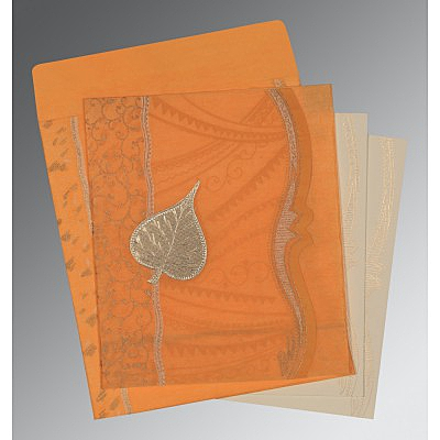 Orange Wooly Embossed Wedding Card : CD-8210L - IndianWeddingCards