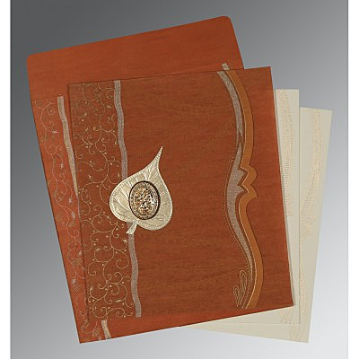 Orange Wooly Embossed Wedding Card : CI-8210D - IndianWeddingCards