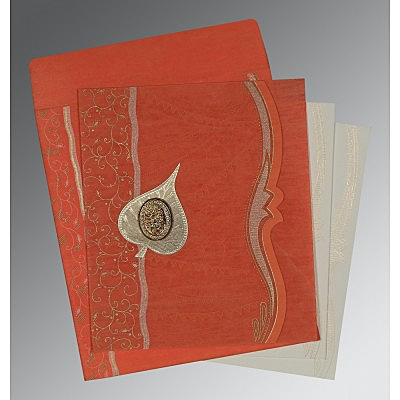 Orange Wooly Embossed Wedding Card : CI-8210F - IndianWeddingCards