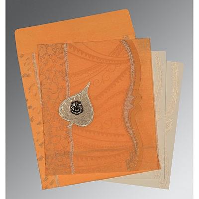 Orange Wooly Embossed Wedding Card : CIN-8210L