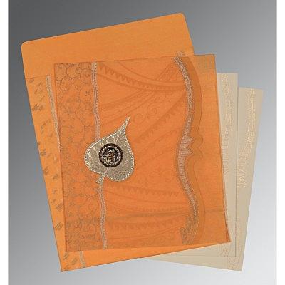 Orange Wooly Embossed Wedding Card : CS-8210L - IndianWeddingCards