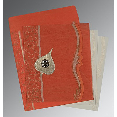 Orange Wooly Embossed Wedding Card : CW-8210F - IndianWeddingCards