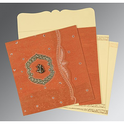 Orange Wooly Floral Themed - Embossed Wedding Card : CC-8209D - IndianWeddingCards