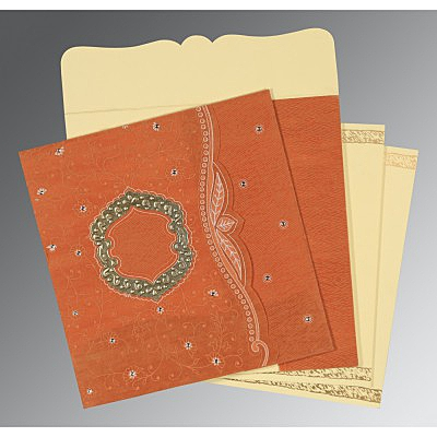 Orange Wooly Floral Themed - Embossed Wedding Card : CD-8209D - IndianWeddingCards
