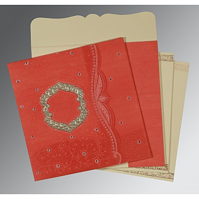 Orange Wooly Floral Themed - Embossed Wedding Card : CD-8209M - IndianWeddingCards