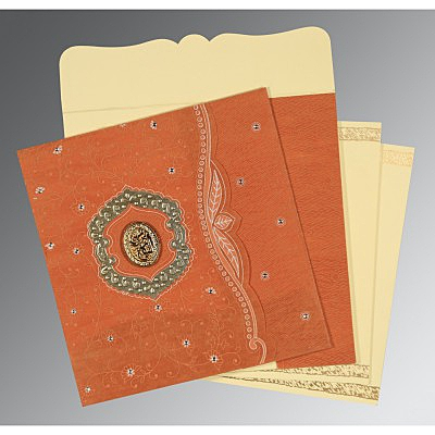 Orange Wooly Floral Themed - Embossed Wedding Card : CI-8209D - IndianWeddingCards