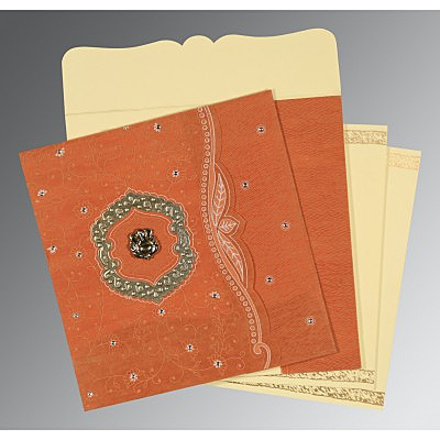 Orange Wooly Floral Themed - Embossed Wedding Card : CIN-8209D - IndianWeddingCards