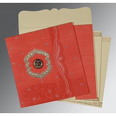 Orange Wooly Floral Themed - Embossed Wedding Card : CS-8209M - IndianWeddingCards
