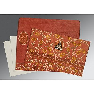 Orange Wooly Floral Themed - Glitter Wedding Card : CG-8206G - IndianWeddingCards