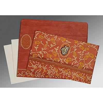 Orange Wooly Floral Themed - Glitter Wedding Card : CI-8206G - IndianWeddingCards