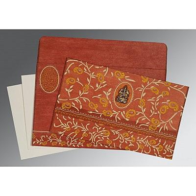 Orange Wooly Floral Themed - Glitter Wedding Card : CIN-8206G - IndianWeddingCards