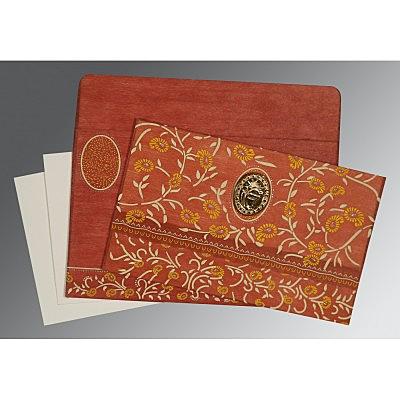 Orange Wooly Floral Themed - Glitter Wedding Card : CS-8206G - IndianWeddingCards