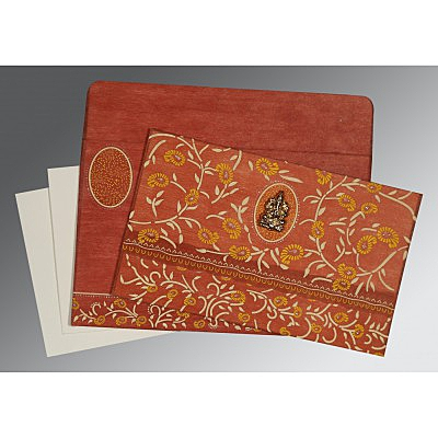 Orange Wooly Floral Themed - Glitter Wedding Card : CW-8206G - IndianWeddingCards