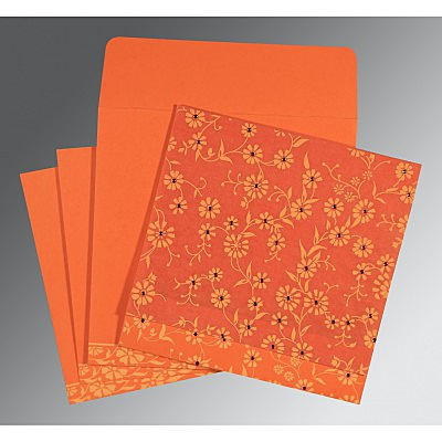 Orange Wooly Floral Themed - Screen Printed Wedding Card : CC-8222L - IndianWeddingCards
