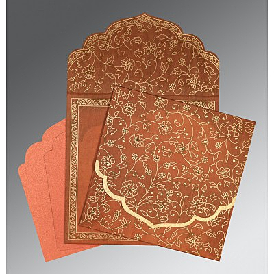 Orange Wooly Floral Themed - Screen Printed Wedding Invitation : CD-8211H - IndianWeddingCards