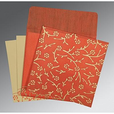 Orange Wooly Floral Themed - Screen Printed Wedding Invitation : CI-8216G - IndianWeddingCards