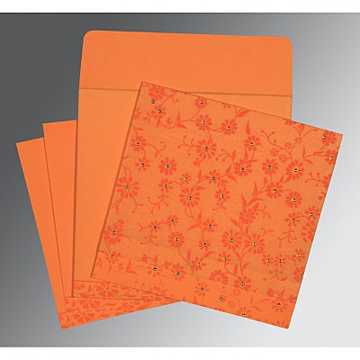 Orange Wooly Floral Themed - Screen Printed Wedding Card : CI-8222C - IndianWeddingCards