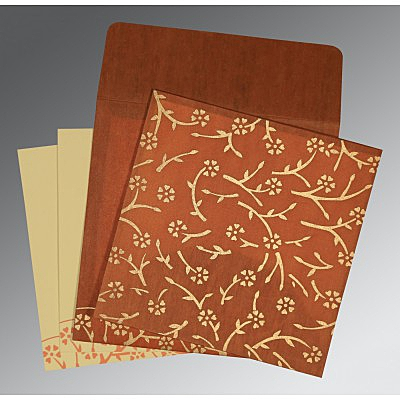 Orange Wooly Floral Themed - Screen Printed Wedding Invitation : CIN-8216E - IndianWeddingCards