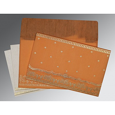 Orange Wooly Foil Stamped Wedding Invitation : CC-8241H - IndianWeddingCards