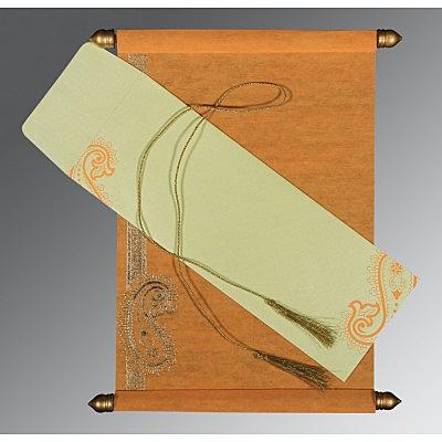 Orange Wooly Foil Stamped Wedding Card : CSC-5015J - IndianWeddingCards