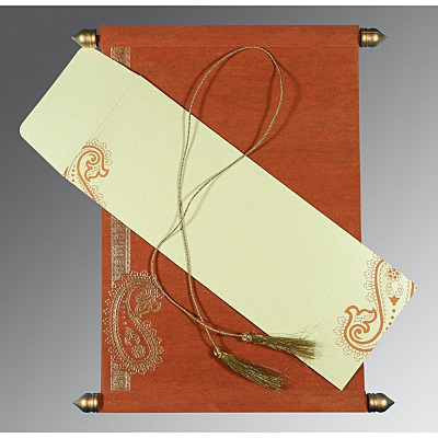 Orange Wooly Foil Stamped Wedding Card : CSC-5015K - IndianWeddingCards