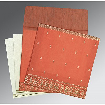 Orange Wooly Foil Stamped Wedding Card : CW-8242I - IndianWeddingCards