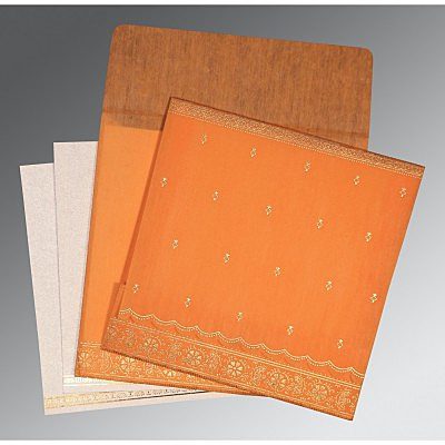 Orange Wooly Foil Stamped Wedding Invitations : CW-8242Q - IndianWeddingCards