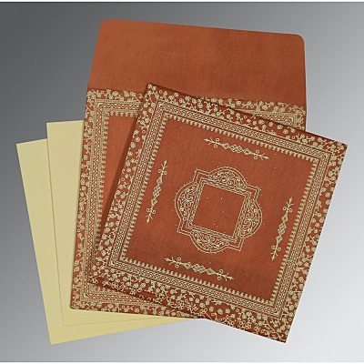 Orange Wooly Glitter Wedding Card : CD-8205C - IndianWeddingCards