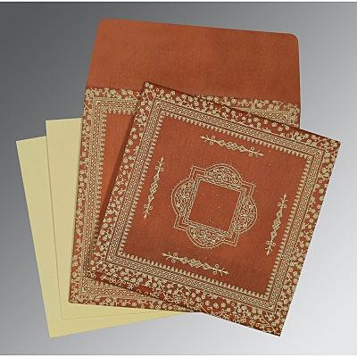 Orange Wooly Glitter Wedding Card : CD-8205C - IndianWeddingCards