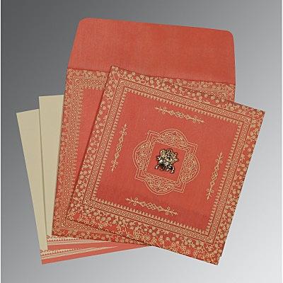 Orange Wooly Glitter Wedding Card : CG-8205M - IndianWeddingCards