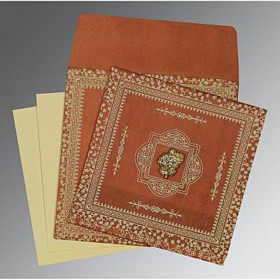 Orange Wooly Glitter Wedding Card : CI-8205C - IndianWeddingCards