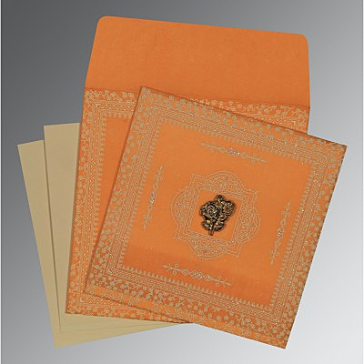 Orange Wooly Glitter Wedding Card : CI-8205H - IndianWeddingCards