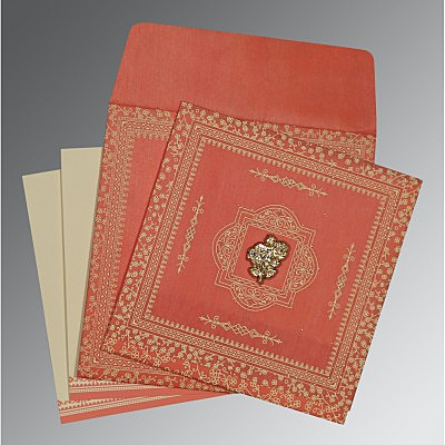 Orange Wooly Glitter Wedding Card : CI-8205M - IndianWeddingCards