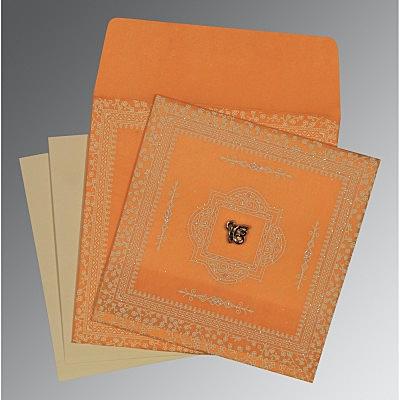Orange Wooly Glitter Wedding Card : CRU-8205H - IndianWeddingCards