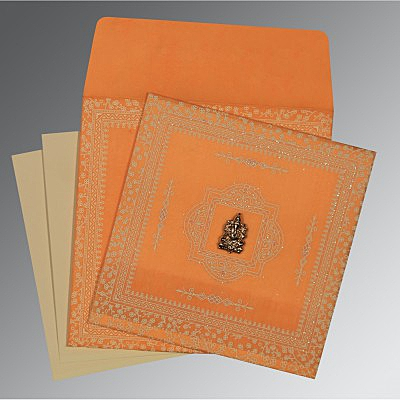 Orange Wooly Glitter Wedding Card : CW-8205H - IndianWeddingCards