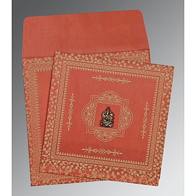 Orange Wooly Glitter Wedding Card : CW-8205M - IndianWeddingCards