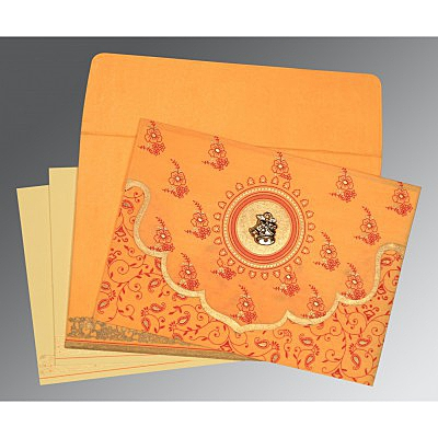 Orange Wooly Screen Printed Wedding Invitation : CC-8207J - IndianWeddingCards