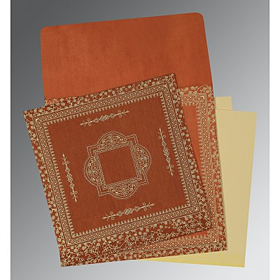 Orange Wooly Screen Printed Wedding Invitations : CD-1050 - IndianWeddingCards